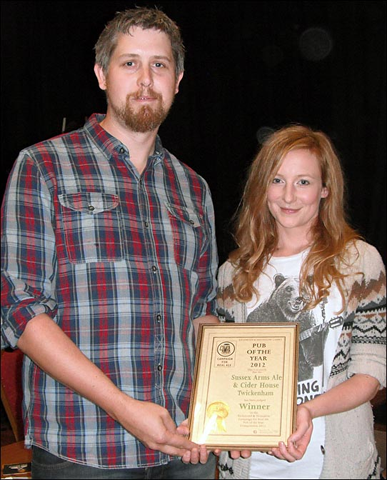 Branch Pub of the Year winners, Peter Brew and Ashley Zobell