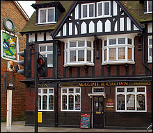 Outside view of The Magpie and Crown