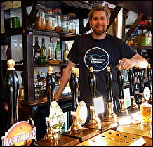 Pete Brew behind the bar