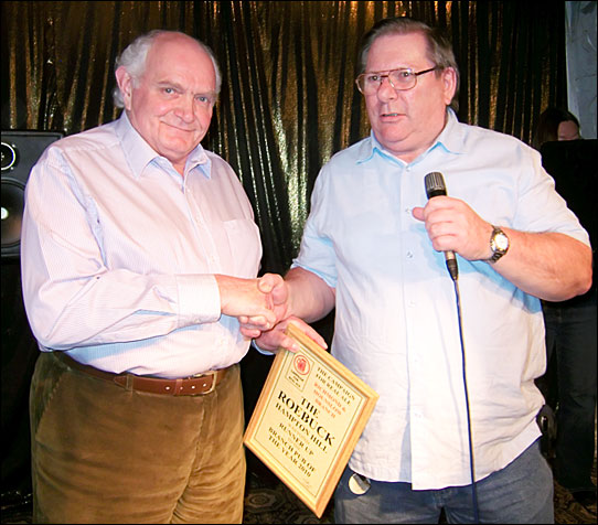PotY 2010 presentation to Terry Himpfen on stage at the Red Lion