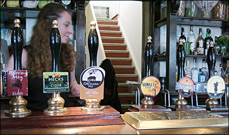 Cider hand-pumps at the Sussex Arms